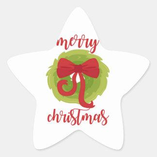 Merry Christmas Bow Wreath Star Sticker