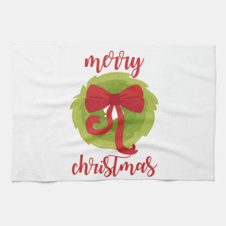 Merry Christmas Bow Wreath Tea Towel