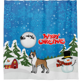 Merry Christmas Boxer With A Snowman And Santa Shower Curtain