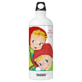 Merry Christmas Boy and Girl Water Bottle