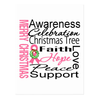 Merry Christmas Breast Cancer Ribbon Collage Postcard