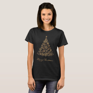 Merry Christmas bright gold Xmas snowflake tree T-Shirt