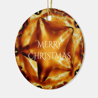 Merry Christmas Brown Gold Copper Elegant Star Ceramic Ornament