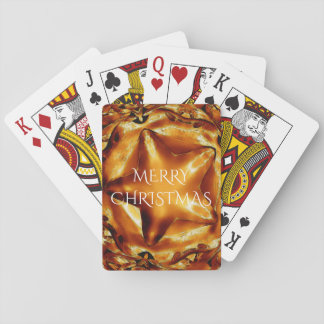 Merry Christmas Brown Gold Copper Elegant Star Playing Cards