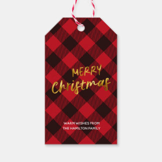 Merry Christmas Buffalo Plaid and Gold Foil Script Gift Tags
