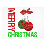 Merry Christmas Bulb Ribbon Ornanment Personalized Announcements