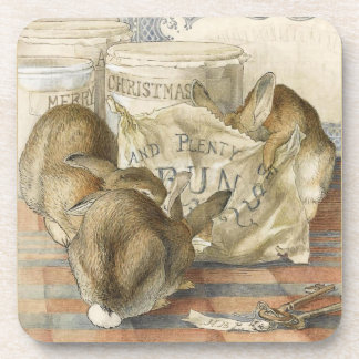 Merry Christmas Bunny Rabbits Beverage Coaster