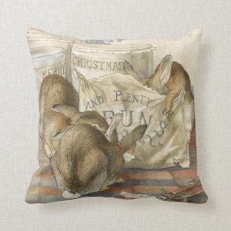 Merry Christmas Bunny Rabbits Cushion