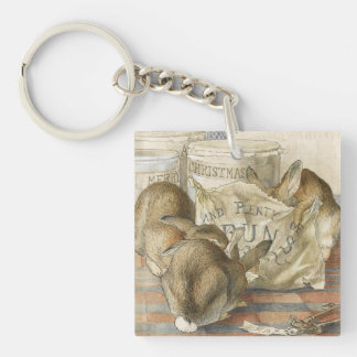 Merry Christmas Bunny Rabbits Double-Sided Square Acrylic Key Ring