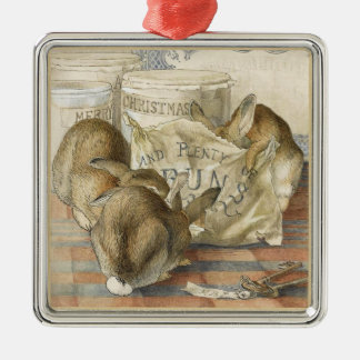 Merry Christmas Bunny Rabbits Illustrated Silver-Colored Square Decoration