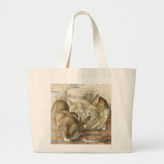 Merry Christmas Bunny Rabbits Jumbo Tote Bag
