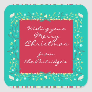 Merry Christmas business gift labels Square Sticker