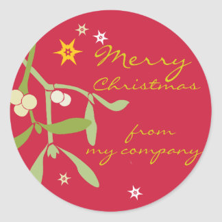 Merry Christmas business gift labels Round Stickers