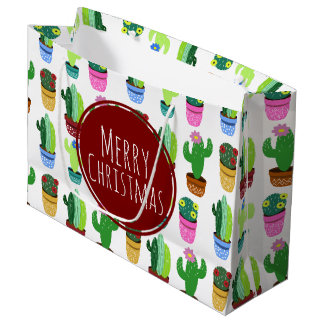 Merry Christmas Cactus Pattern Large Gift Bag