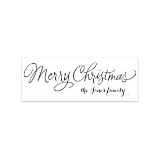 Merry Christmas calligraphy personalized greetings Rubber Stamp