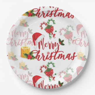 Merry Christmas Calligraphy Script Paper Plate