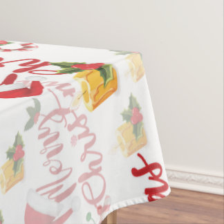 Merry Christmas Calligraphy Script Tablecloth