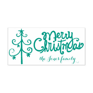 Merry Christmas calligraphy Self-inking Stamp