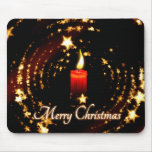 Merry Christmas candle stars illustration Mouse Mats