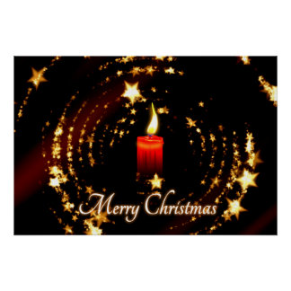 Merry Christmas candle stars illustration Poster