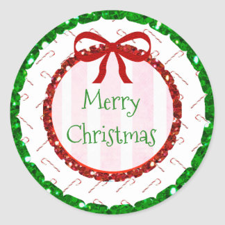 Merry Christmas Candy Cane Cute Bow Stickers