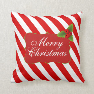 Merry Christmas Candy Cane Stripes Throw Pillows