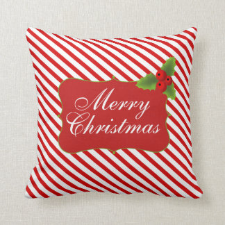 Merry Christmas Candy Cane Stripes Pillows