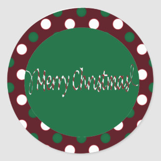 Merry Christmas Candy Cane Stripes & polka dots Classic Round Sticker