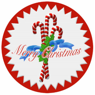 Merry Christmas Candy Canes Ornament Photo Sculpture Decoration