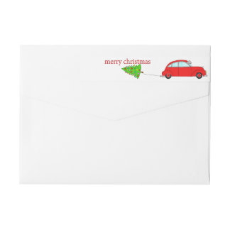 Merry Christmas car towing tree Wrap Around Label
