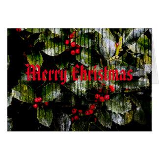 Merry Christmas Card - Holly Berry Design
