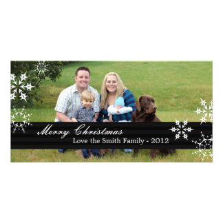 Merry Christmas Card in black with Snowflakes Photo Cards
