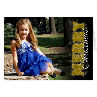 Merry Christmas card in Gold Glitter