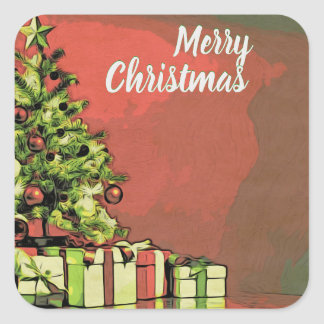 Merry Christmas Card! Square Sticker
