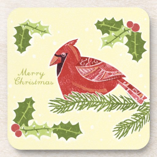 Merry Christmas Cardinal Bird on Branch with Holly Drink Coasters