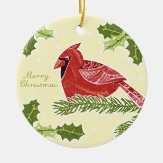 Merry Christmas Cardinal Bird on Branch with Holly Christmas Tree Ornament