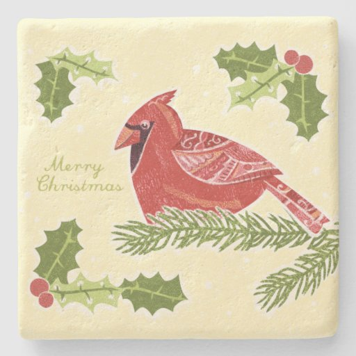 Merry Christmas Cardinal Bird on Branch with Holly Stone Coaster