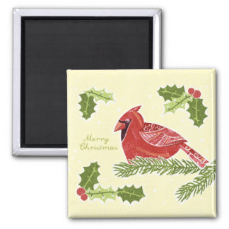 Merry Christmas Cardinal Bird on Branch with Holly Magnet