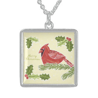 Merry Christmas Cardinal Bird on Branch with Holly Personalized Necklace