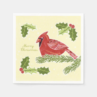 Merry Christmas Cardinal Bird on Branch with Holly Paper Napkin