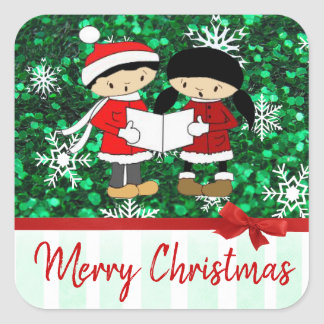 Merry Christmas Carolers and  Snowflakes Square Sticker