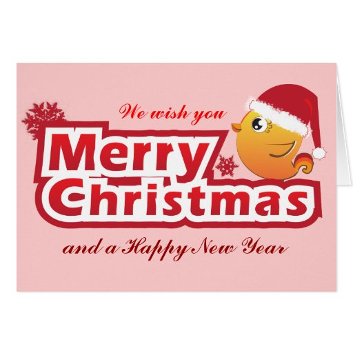 Merry Christmas cartoon baby bird greeting card