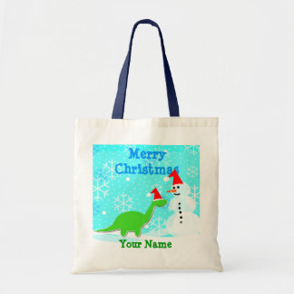 Merry Christmas Cartoon Dinosaur Snowman Bag/ Tote Budget Tote Bag