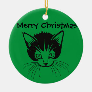 Merry Christmas cat ornament.