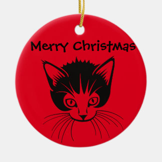 Merry Christmas cat ornament