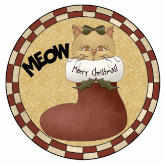 Merry Christmas Cat Ornament Photo Cut Outs