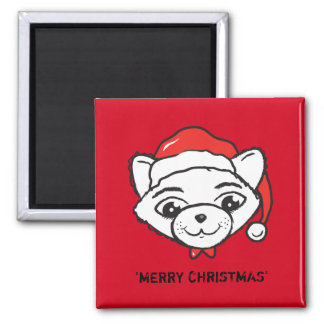 Merry Christmas Cat Square Magnet