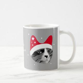 Merry Christmas Cat with Santa Hat Coffee Mug