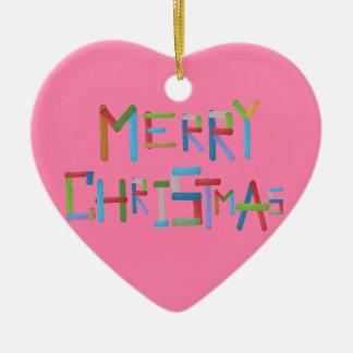 Merry Christmas Ceramic Heart Decoration
