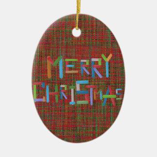 Merry Christmas Ceramic Oval Decoration